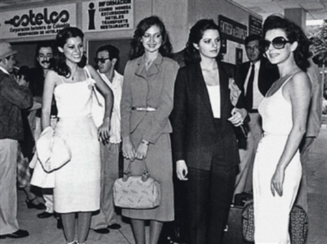 Miss Colombia pageant, the beauty queens and Virginia to the right, 1981